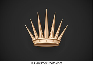 Icon of old royal crown on a dark black background. Vector Illustration.