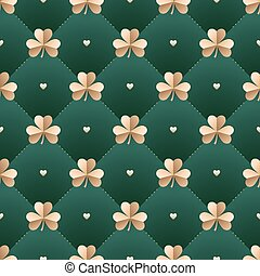 Seamless irish gold pattern with clover and heart on a dark...