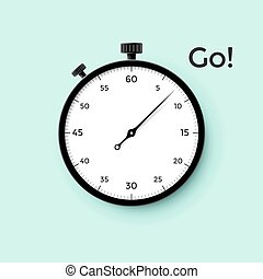 White stop watch face with black pointer and word Go on mint...