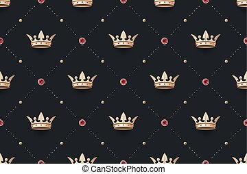 Seamless gold patter and king crown with diamond - Seamless...