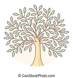 Icon of green tree in circle background. Colorful design