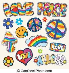 Vintage hippie patches vector set. Set of patches hippie...