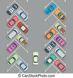 Parked cars on the parking top view, Vector urban transport...