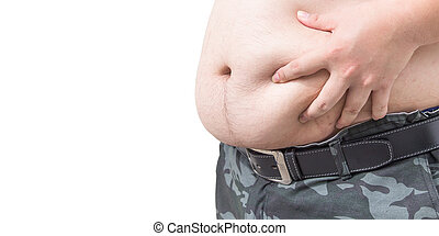 Fat man checking out his weight isolated on white background