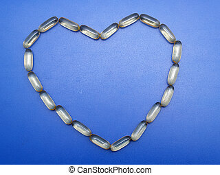 omega,  3, cápsulas, forma, corazón