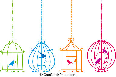 lovely birdcages with cute birds, v - set of ornamental...