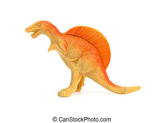 lado, vista, naranja, spinosaurus, juguete, en, Un, blanco,...