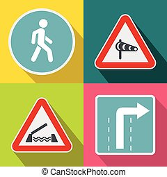 Road Sign banners set, flat style - Road Sign banners set in...