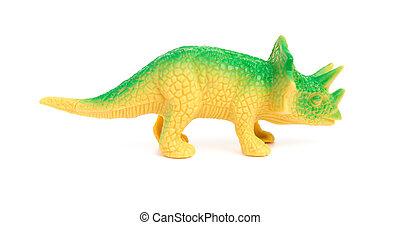 lado, vista, verde, Triceratops, juguete, en, Un, blanco,...