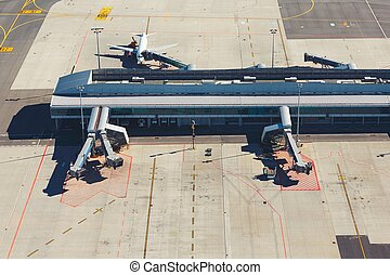 International airport terminal - Aerial view of the modern...