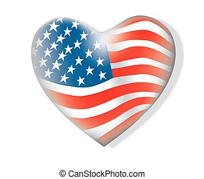 Flag of America heart shape