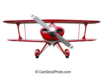 Red biplane cut out - A red biplane isolated on a white...
