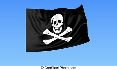 Waving pirate Jolly Roger flag 4K clip, seamless loop....