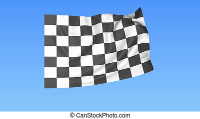 Waving racing chequered flag, finish concept, loop, blue background. 4K, ProRes