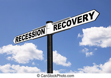 Recession Recovery signpost - Signpost with the words...