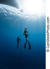 Two scuba divers swim under the water - Two freedivers...