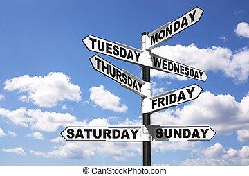 semaine, jours, poteau indicateur
