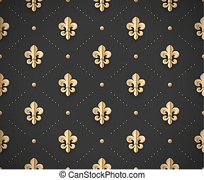 Seamless gold pattern with fleur-de-lys on a dark black...