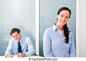 trabajadores, oficina, feliz