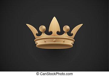 Gold royal crown on a dark black background. Vector Illustration.