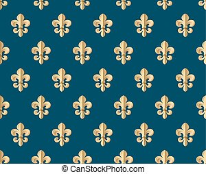 Seamless gold pattern with fleur-de-lys on a dark blue...
