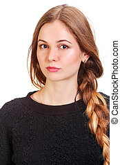 Happy woman in blank black sweater, isolated on white