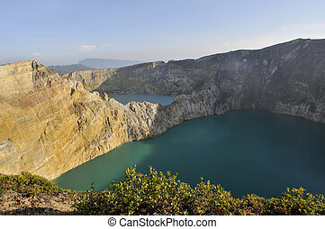 Kelimutu vulcano Flores Indonesia  in the morning sunrise