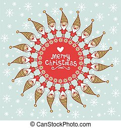 Bright Christmas card with tex tbox. Vintage Merry Christmas...