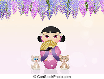 kokeshi doll and cats - illustration of kokeshi doll and...