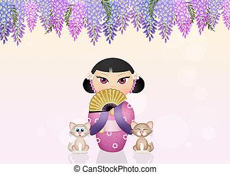 kokeshi doll and cats - illustration of kokeshi doll and...