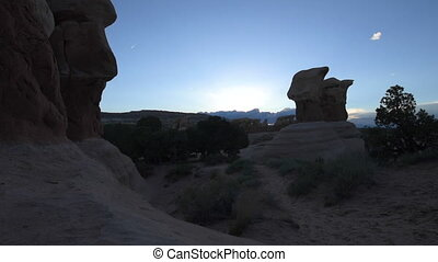 Devil's Garden hoodoos after sunset, Grand Staircase Escalante National Monument, Utah