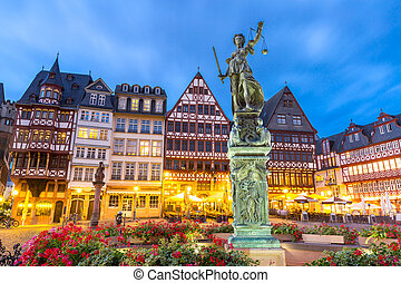 Frankfurt old town sunset. Germany