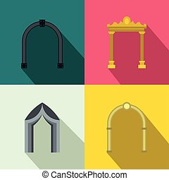 Arch banner set, flat style - Arch banner set in flat style...