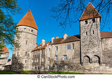 Old walls Tallinn, Estonia - Walls and medieval towers in...