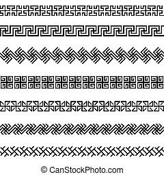 Old greek border designs set - Old greek border designs...