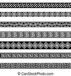 Old greek border designs set - Old greek border designs...