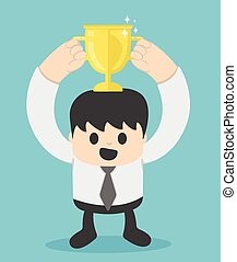 Successful businessman with gold cup