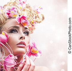Closeup portrait of a young flower nymph - Closeup portrait...