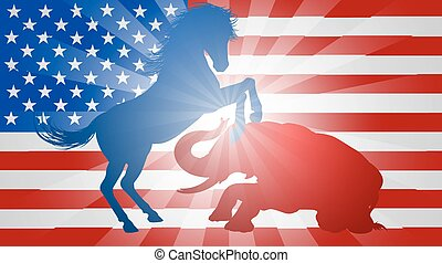 American Election Concept Donkey Beating Elephant - A donkey...