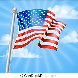 American Flag With Sky - The American flag on a flag pole...