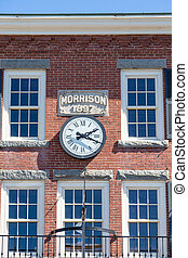 Clock on Morrison Building - Old Morrison Building in Bar...