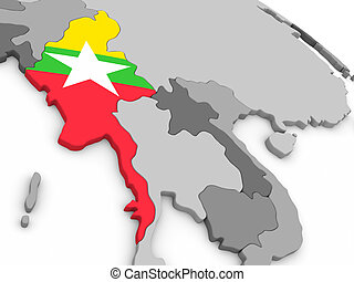 Myanmar on globe with flag - Map of Myanmar with embedded...