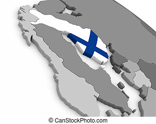 Finland on globe with flag - Map of Finland with embedded...