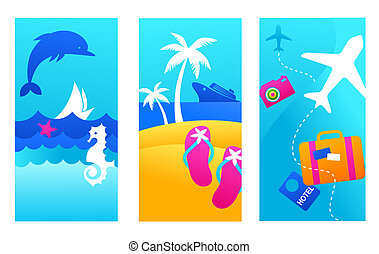 Summer vacation backgrounds - Three colorful summer vacation...