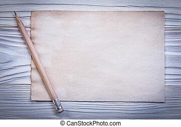 Set of vintage paper sheet for menu pencil on wooden board