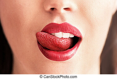 Conceptual image of a strawberry tongue
