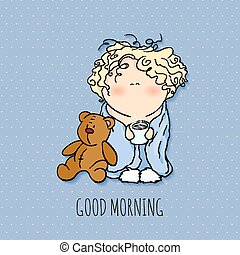 the bobblehead with curled hair. wish card. vector character. doodle