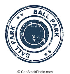 Ball Park business concept rubber stamp isolated on a white...