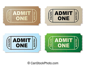 admit one ticket set - Collection of four old fashioned...