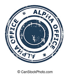 Alpha Office business concept stamp isolated on a white...